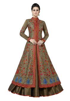 Indian Ethnic Milberry Silk Brown Designer Salwar Kameez Suit Embroidery Fashion #RadhaKrishnaExports #SalwarKameez #PartyWear