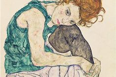 Egon Schiele; donna seduta con ginocchio piegato; 1917; carboncino; Galleria Nazionale,Praga.