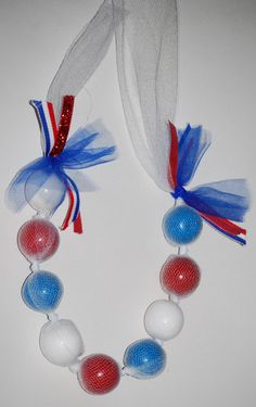 Fourth of July Edible Gumball Necklace
