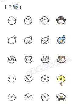 8 Sheets Korea DIY Kawaii Diary Pretty Point Sticker Set – Deco Translucent Paper Sticker Set cibi tiere Mehr This. Doodle Art, Doodle Drawings, Animal Drawings, Bird Doodle, Drawing Animals, Doodle Images, Doodle Flowers, Kawaii Doodles, Cute Doodles