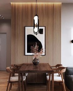 Home Design Decor, Home Interior Design, Diy Home Decor, Interior Decorating, Wood Slat Wall, Living Room Decor, Bedroom Decor, Dining Room Design, Dining Area
