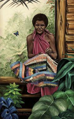 Chris Dejong painting of a Papua New Guinea woman weaving a 'bilum'
