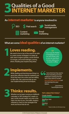 3 Qualities of a good internet marketer! Launching a successful internet marketing campaign is a rigorous task that requires time, efforts, and resources, to mention a few. In addition, one o Inbound Marketing, Marketing Digital, Marketing En Internet, Sem Internet, Business Marketing, Email Marketing, Content Marketing, Marketing And Advertising, Affiliate Marketing