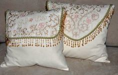 Pretty Cottage Shabby Chic pillow.  Cream cotton base fabric, beautifully enhanced with pink embroidery and beaded fringe.
