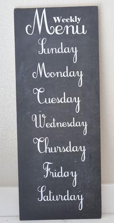 chalkboard weekly menu