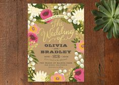 whimsical floral invitation from Minted