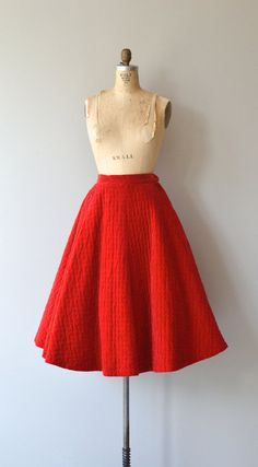 Russian Red skirt 1950s quilted circle skirt by DearGolden