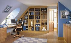 Built-in bookshelf for walls at either end of attic rooms.