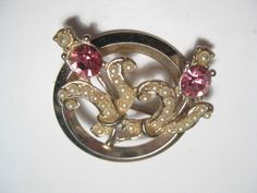 Vintage Circle Brooch with Two Stems with faux pink topaz and faux pearls  #Unbranded