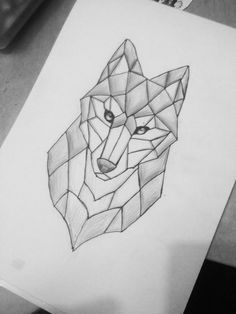 Here is a simple and geometric wolf tattoo. I& in love with this . - Here is a simple and geometric wolf tattoo. I& in love with this and I like … – Style – - Geometric Wolf Tattoo, Geometric Drawing, Geometric Shapes, Tribal Wolf, Geometric Artists, Geometric Animal, Wolf Tattoos, Animal Tattoos, Easy Drawings