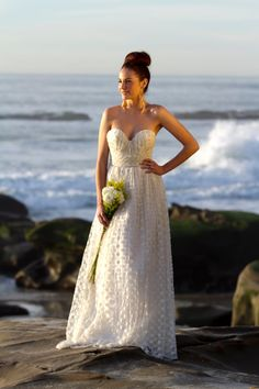 Clementine   dotted net sweetheart wedding gown by DMarieCouture, $700.00