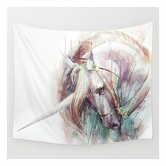 Red Rugs Unicorn Wall Tapestry liked on Polyvore Unicorn PaintingAnimal RugRug