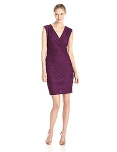 Adrianna Papell Womens Cap Sleeve V Neck Rouched Side Lace Dress Wine 14 * Find out more about the great product at the image link.(This is an Amazon affiliate link and I receive a commission for the sales)