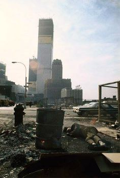 Duane Street, Tribeca, the view south towards the Twin Towers construction. 1970. Photo by Camilo Jose Vergara.