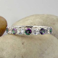 Mystic Topaz White Eternity Band Ring 925 Sterling Silver Made To Order