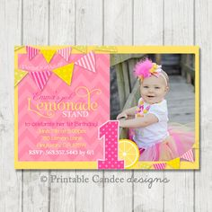pink lemonade birthday invitation lemonade stand invitation lemonade birthday lemonade party pink lemonade diy custom printable