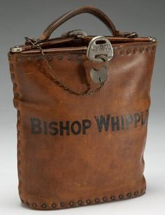 Bishop Whipple's leather bag (Episcopalian bishop of Minnesota from 1858 until 1901)