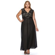 Plus Size Chaya Sequin Floral Lace Evening Gown
