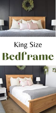 These plans are for a modern farmhouse KING sized bedframe- including headboard, footboard, side rails, and supports. This plan is on the advanced side, as it does require some glue ups. But it is a very quick build, and with all square joinery, it is actually rather simple. #anawhite #sprucd #diy #diyfurniture #kingbed #bedframe Diy Furniture Building, Diy Furniture Plans, Furniture Making, Wood Furniture, Bedroom Furniture, Wood Home Decor, Diy Home Decor, Diy Bedroom, Master Bedroom