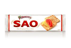 SAO—a large, flaky cracker. The light texture is achieved by rolling dough into thin sheets and then layering it to create distinctive bubbles and crumbs.