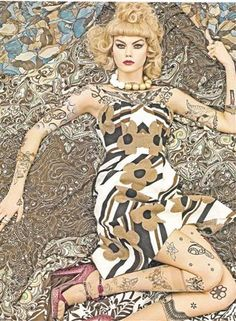 """I adore this eye catching editorial """"Vogue Patterns"""" from Vogue Italia, December 2007 by photographer Steven Meisel. The models featured are Lara Stone, Hanne-Gaby Odiele , Kinga, Marina and Magdalena. Imges via The Photography Link and Artsy Time. Foto Fashion, Fashion Art, Editorial Fashion, High Fashion, Womens Fashion, Fashion Portraits, Vogue Editorial, Green Fashion, Fashion Colours"""