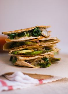Crispy mushroom, spinach and avocado quesadillas (from Cookie and Kate)  I think artichoke would be good in these too.