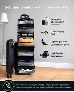 Carry-On Closet - Solgaard Suitcase with Shelf and USB by Solgaard Design — Kickstarter what is The Best Suitcases? Suitcase Packing, Carry On Suitcase, Travel Packing, Travel Bags, Suitcase With Shelves, Cute Suitcases, Vintage Suitcases, Vintage Luggage, Travel Size Toiletries
