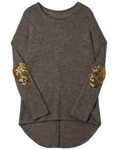 fashion style clothing Doublju Womens Wide Neck Skull Sequinned Elbow Patched Top (AWTTL035) #doublju