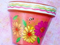"""Hand Painted Terracotta Pot 4 Inch """" Fiesta""""- Choose Pink, Green or White, Made to Order Painted Clay Pots, Painted Flower Pots, Hand Painted, Clay Pot Projects, Clay Pot Crafts, Decoupage, Terracotta Plant Pots, Clay Flower Pots, Garden Crafts"""