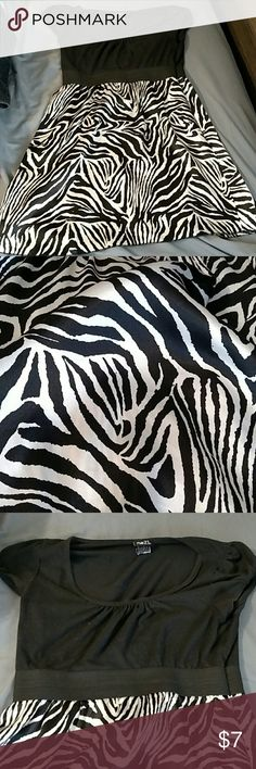 Rue 21 Large Short Sleeve Zebra Print Dress Short sleeved, dress. Zebra part is made of a silky material. Stretchy band in the middle makes dress very flattering. Rue 21 Dresses