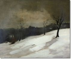 Robert Henri - New York City Snow In Central Park Painting Seascape Paintings, Landscape Paintings, Robert Henri, Painting Snow, Art For Art Sake, 2d Art, Portraits, Illustrations, Abstract Landscape