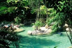 pool cabanas in tropical settings | Beautiful Lagoon style pools in tropical gardens