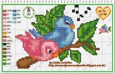 Assorted bird charts...   http://delicadocantinho.blogspot.com.br/2014/04/graficos-ponto-cruz-passaros.html