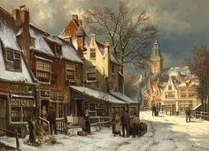 Willem Koekkoek - A Dutch Town in Winter