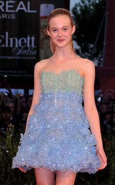 Elle Fanning Seagreen and Periwinkle Dress