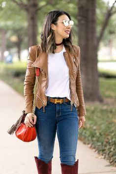 blanknyc faux leather jacket with white tee, hermes belt, NYDJ alina uplift skinny jeans, and chloe boudoir bag Outfits Mujer, Jean Outfits, Fashion Outfits, Autumn Fashion Casual, Casual Winter Outfits, Outfit Winter, Earthy Outfits, Botas Outfit, Outfit Jeans