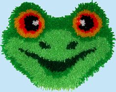 "Frog Huggables(tm) pillow. Approx. finished size 13x11"". Pillow kit is quick, easy and fun to do. Can be completed in a matter of a few hours. Kit comes complete with easy to follow full color graph, instruction sheet, Latch hook blue lined canvas (for easy counting and great results) 100% acrylic pre-cut rug yarn, and how to latch hook instructions. Latch hook tool and stuffing"