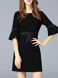 Black Elegant Bow A-line Flared Sleeve Mini Dress