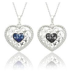 $19.99 - 1/10 Carat Black or Blue Diamond Sterling Silver Filigree Heart Pendant