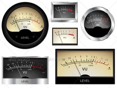 Audio Meters #GraphicRiver Vector audio VU meters. Different colors and styles…