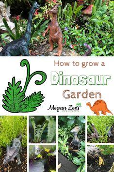 The addition of dinosaurs to your garden turns it into a four season play space . Build A Dinosaur, Dinosaur Garden, Diy Garden Projects, Garden Crafts, Small Gardens, Outdoor Gardens, Reggio Emilia, Gnome Garden, Kid Garden