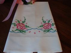 Vintage Embroidered Pillowcase Floral by NettiesCollectibles, $7.99