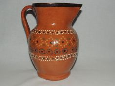 Vintage Folk Art Mexico Hand Painted Red Clay Pottery Pitcher