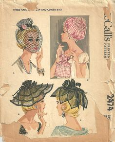 McCalls 2474 / Vintage 60s Sewing Pattern / Hat Cap Veil Millinery / Unused