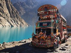 Now aged 27, Lindgren has travelled to a staggering 97 countries, and his awe-inspiring photos.  Here a decorated Pakistani bus...