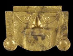 Ancient Pre-Columbian Funerary Mask from Peru. Unknown date, made of gold alloy.