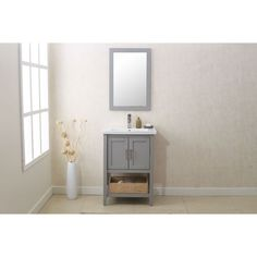 Legion Furniture Grey 24-inch Bathroom Vanity with Matching Mirror and UPC…
