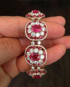 IVY New York. Mahenge Red Spinels and Diamonds in IVY gold bracelet. #ivynewyork www.ivynewyork.com