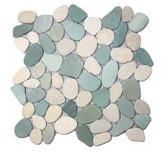 Sliced Sea Green and White Pebble Tile beach-style-tile - I think Cerrara Marble shower walls with these pebbles on the floor would look nice. Stone Mosaic Tile, Marble Mosaic, Mosaic Tiles, Tiling, Mosaics, Beach Style Tile, Beach Cottage Style, Beach House, Beach Condo