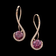 These sweet earrings display a pair of rose Zircons, weighing carats, accented by carats of pave diamonds, set in 14 karat rose gold. Modern Jewelry, Jewelry Art, Gemstone Jewelry, Fashion Jewelry, Tahitian Pearl Earrings, Aquamarine Earrings, Pink Gemstones, Earring Display, Jewelry Stores